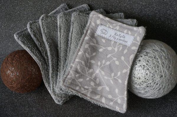 lingettes lavables zéro déchet grises feuillage